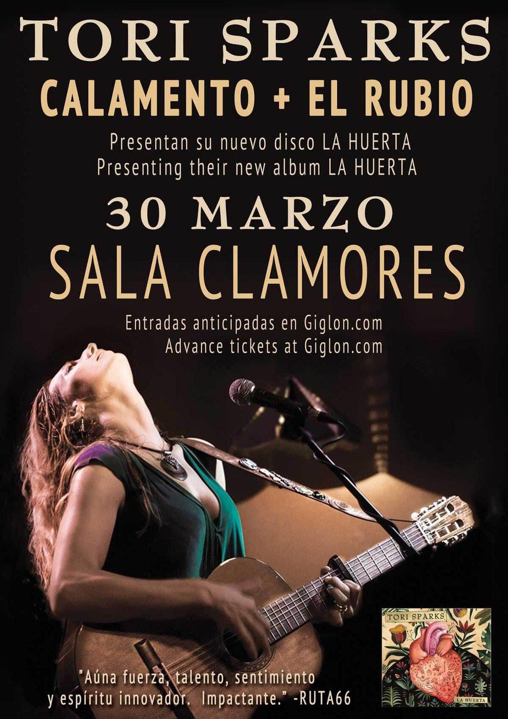 Tori Sparks Madrid Concert Poster