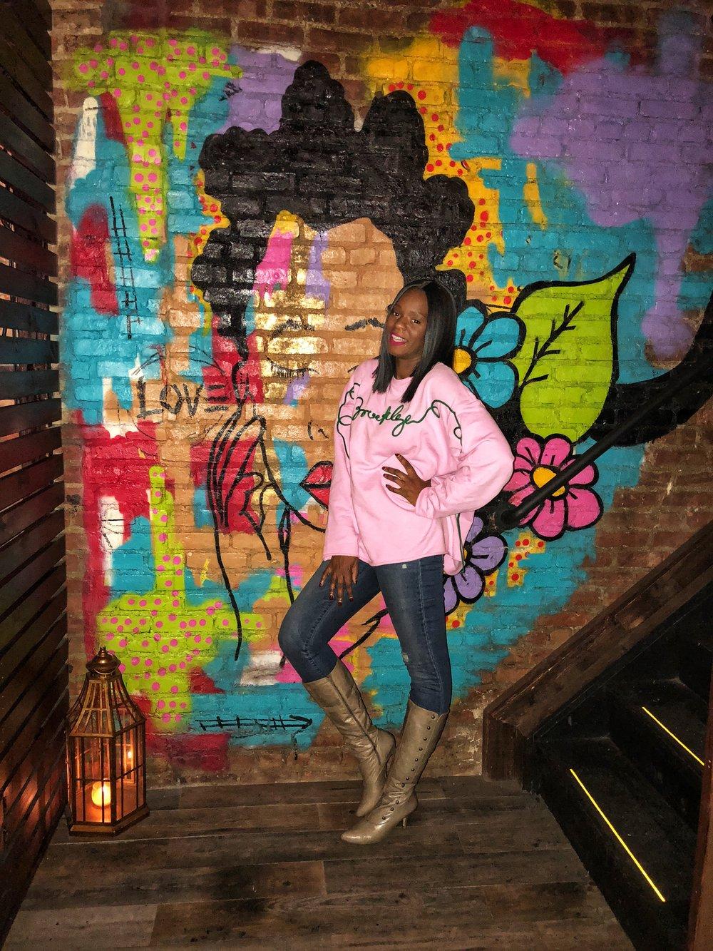 Mural painted wall at carribbean social