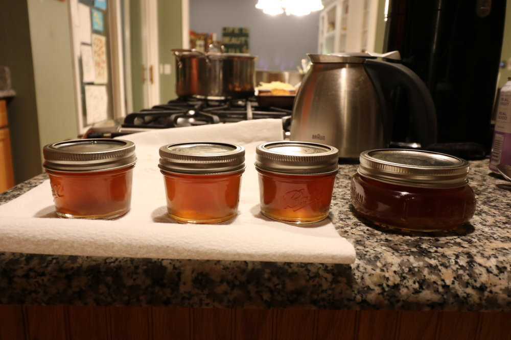 5 gallons of sap turned into these 4 tiny jars of syrup. But they look so pretty!