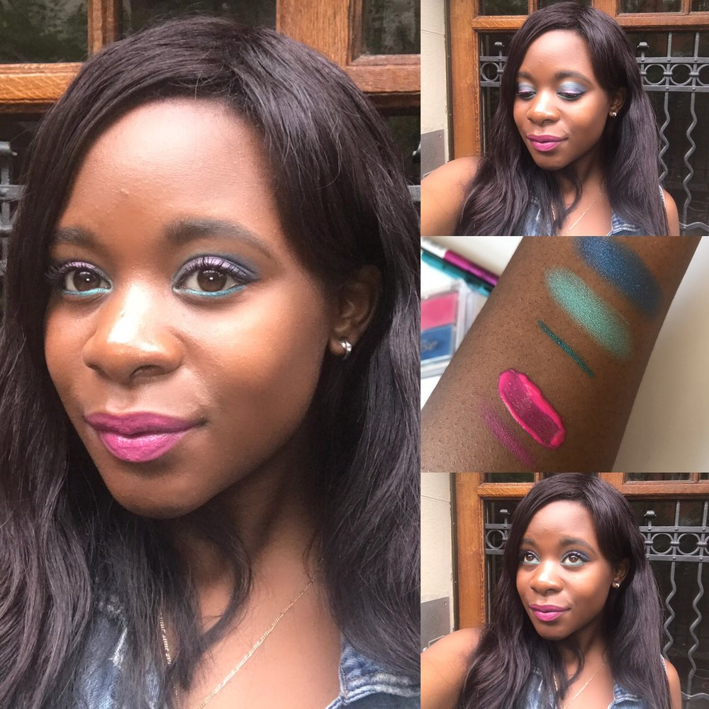 """Swatches: From the bottom to the top - lip liner """"Cute Pink"""", lip lacquer """"Kisses from Havana"""", metallic eyepen """"Buena Vista, baby!"""", two eyeshadows from the paradise palette. In the end, I also put a pop of pink on to my lids to complete this eye look :)"""