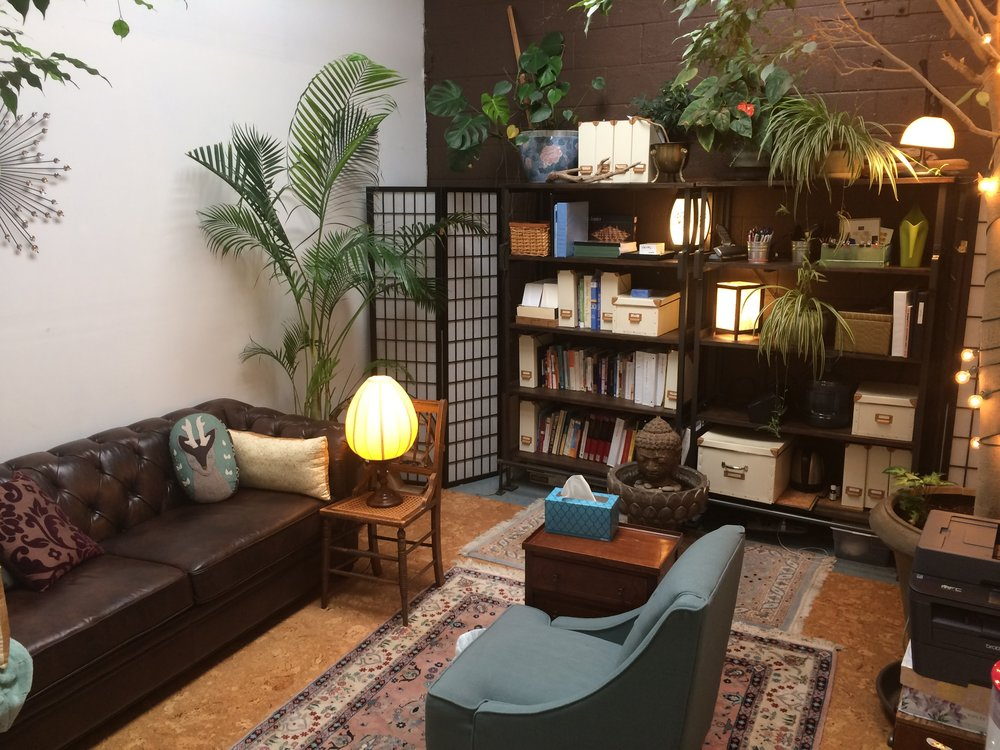 photo of comfortable, safe, well-lit office with plants