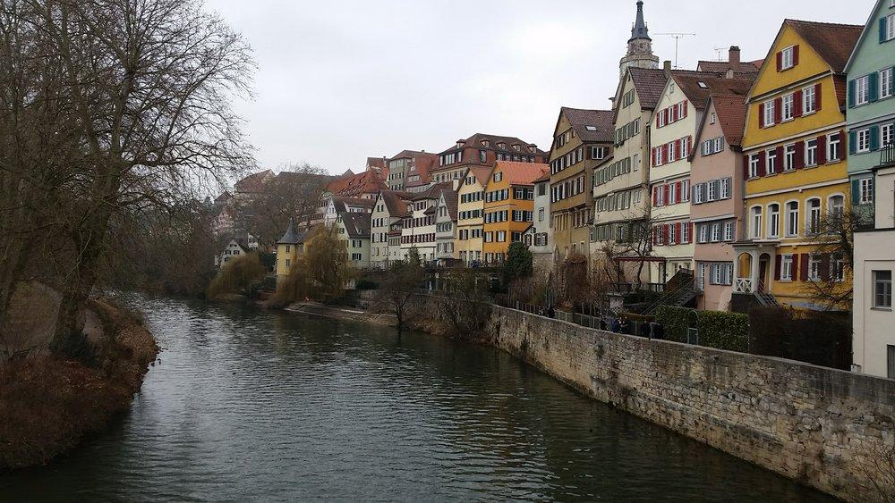 View over the Neckar River from Eberhardsbrüke bridge