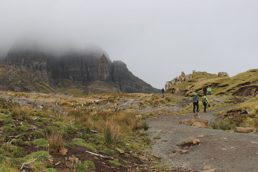 Hiking up to the Old Man of Storr