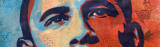 Shepard Fairey, Obama Hope, 2008 Stencil, collage, and acrylic on Coventry Rag Vellum 320gsm paper, 60 X 44 www.obeygiant.com