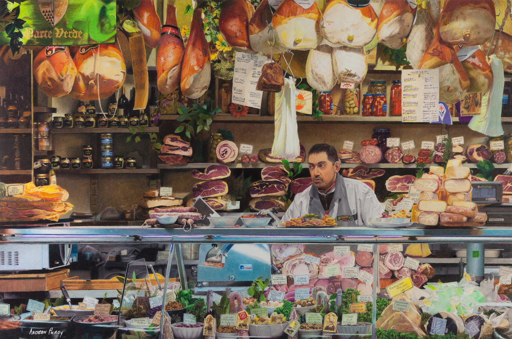 """Macelleria"" 16"" x 24"" colored pencil on Stonehenge paper"