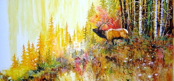 Chuck Danford, Castle Pines Elk, Watercolor on Yupo