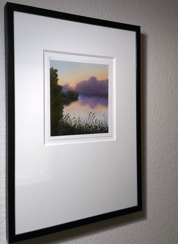 Misty Lake, Oil on Stonehenge Paper, Framed with Rising Museum Board 8 Ply