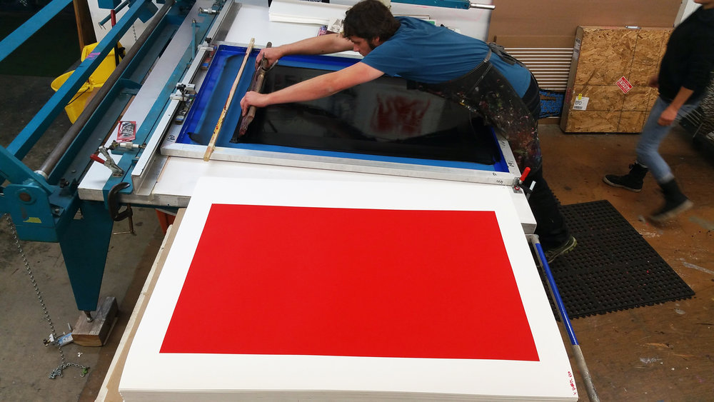 Master Printer & Owner of Serio Press, Tony Clough, working on a Cleon Peterson print using   Coventry Rag.