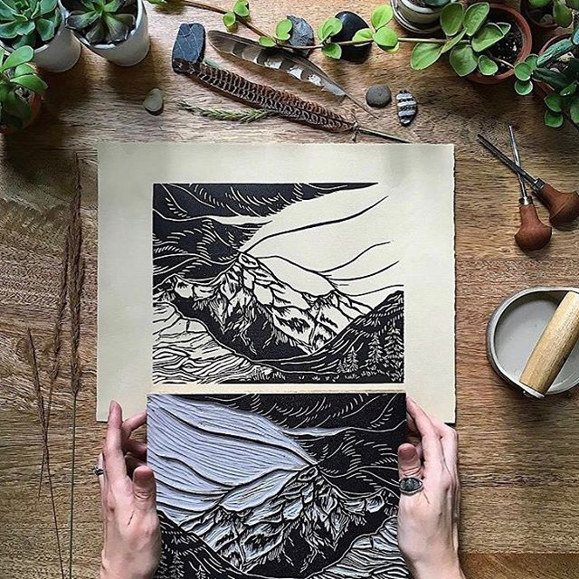 'Break in the Storm' by @riseandwander block print on Nideggen, edition of 50. This print depicts the moment when a storm breaks to let the sun shine through. (How we are feeling in NYC today!) The image was first sketched and then carved from a linoleum Block, and pressed individually, either by hand or a Conrad etching press. . . . #WeArePaper #LegionPaper #Nideggen #NideggenPaper #FineArt #Blockprint #Riseandwander #printmaking #printmaker #paperlove #dailydoseofpaper #print