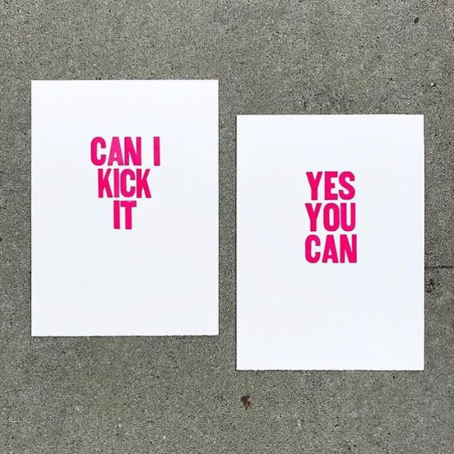 Friday 🙌🏼 'Can I kick it, yes you can' letterpress prints by @paperjampress on fluorescent print on #SomersetPaper. . . . #WeArePaper #LegionPaper #fridayinspiration #friday #paperjampress #printmaking #dailydoseofpaper #paperlove #artdaily #letterpress #art #decor