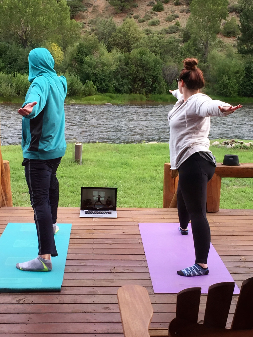 And sometimes you get to go to Colorado and do yoga outside by the river with your partner...