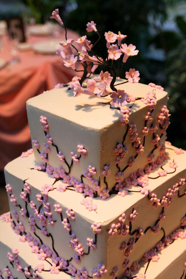 cherry-blossom-wedding-cake-and-topper
