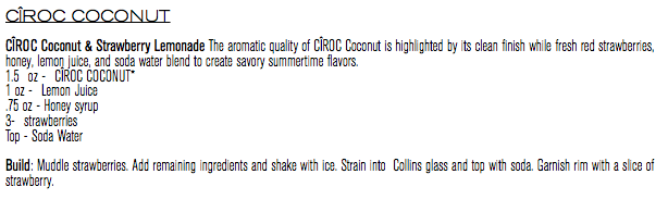 CÎROC Coconut & Strawberry Lemonade_RECIPE