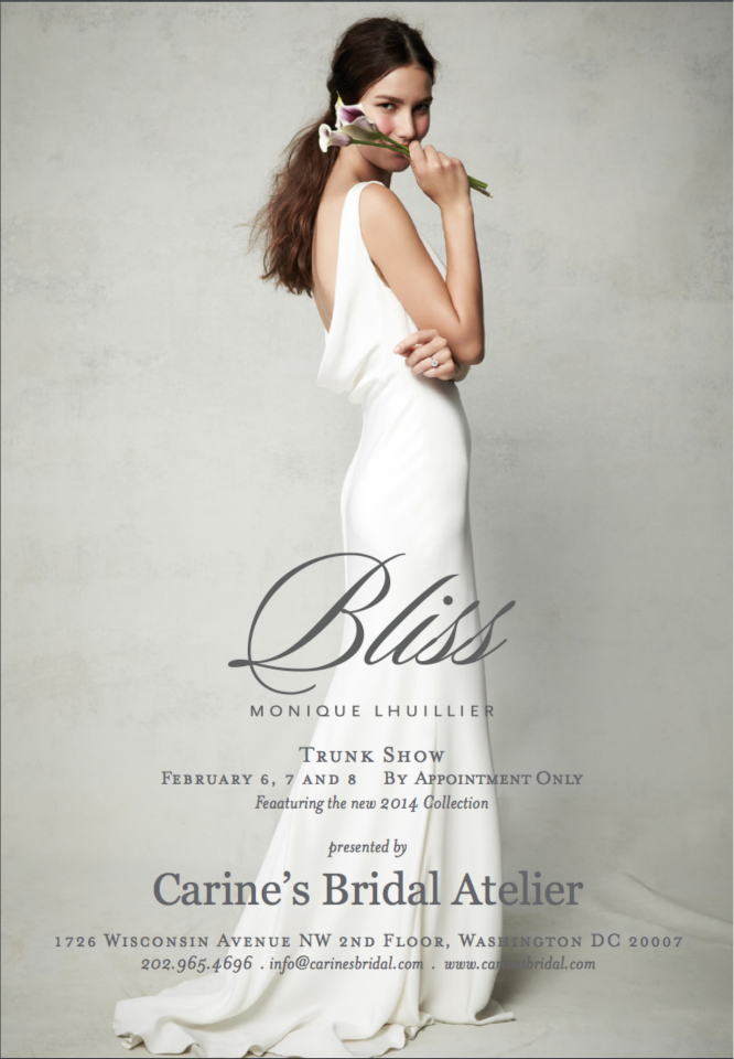 CBA BLISS Monique Lhuillier Trunk Show Feb '14 invite