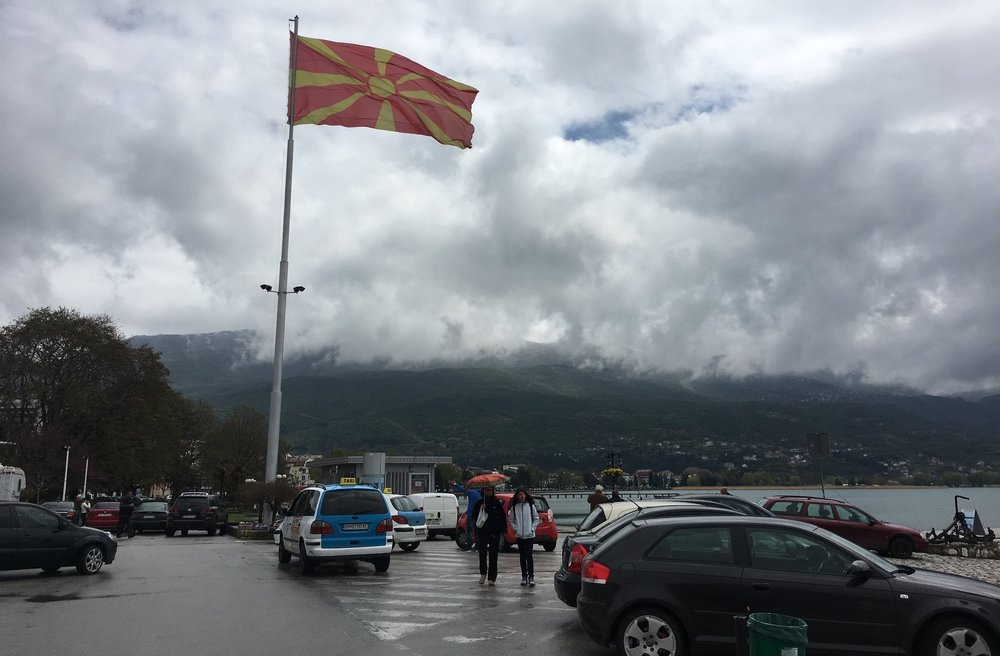 The Macedonia flag leads the way to Japan.