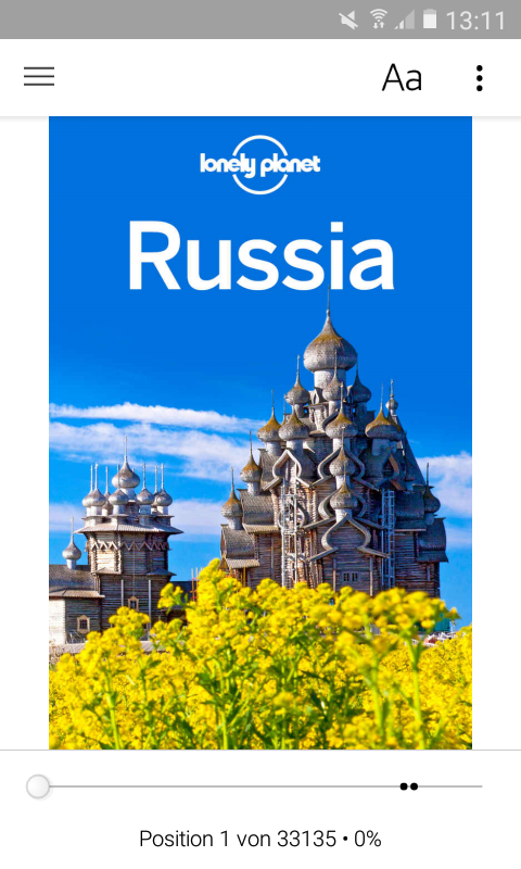 Two Screenshots of the online-Version of the Lonely Planet for Russia, running in Amazon's Kindle-App.