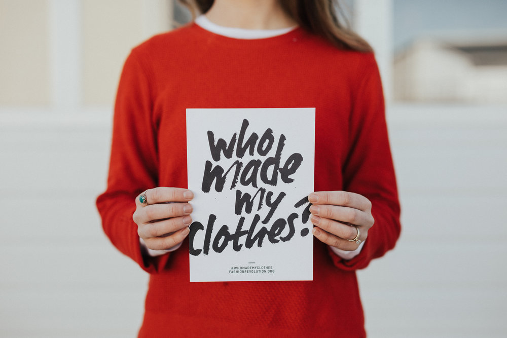 The campaign for 'Who Made My Clothes' was started by Fashion Revolution and advocates for those who make our clothes in factories around the globe. It's a call for action, awareness and care for the people behind what we wear.