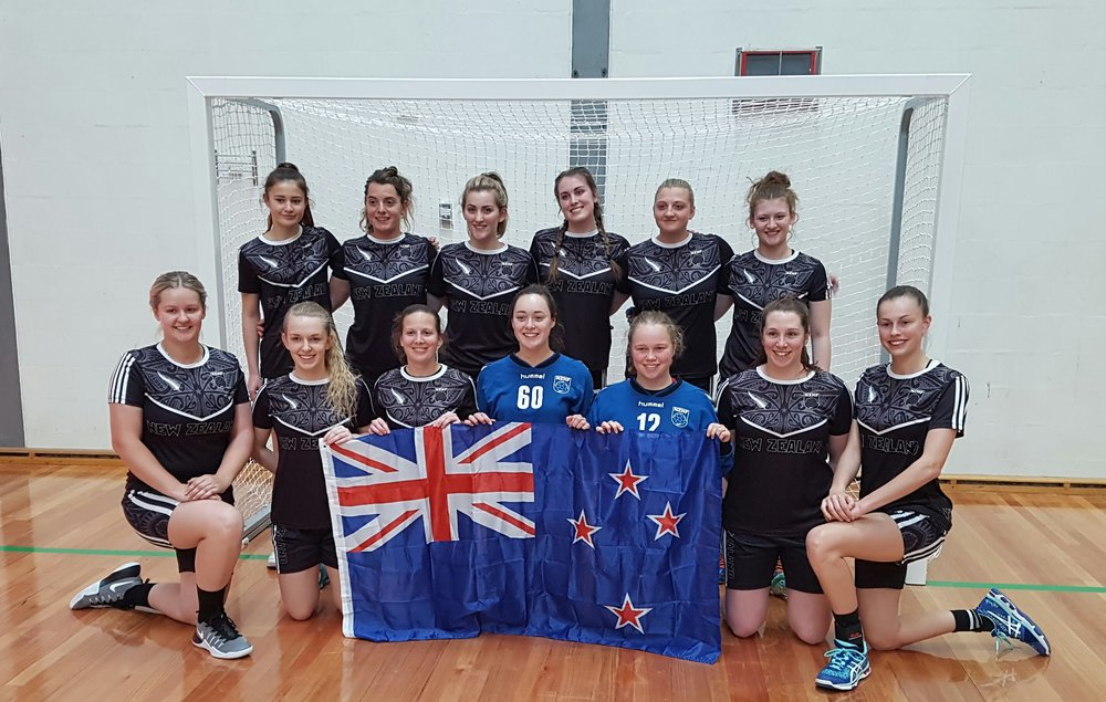 2016 NZ Senior Women's team competing in the Oceania Qualifiers, October 2016, Sydney. Shaza is 2nd from the right in the back row.