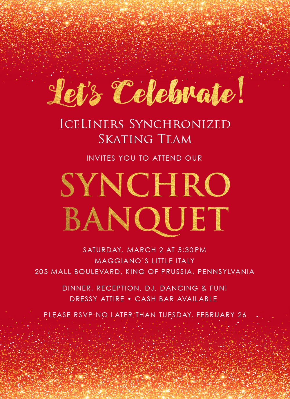 IceLiners Synchronized Skating Banquet Invitation