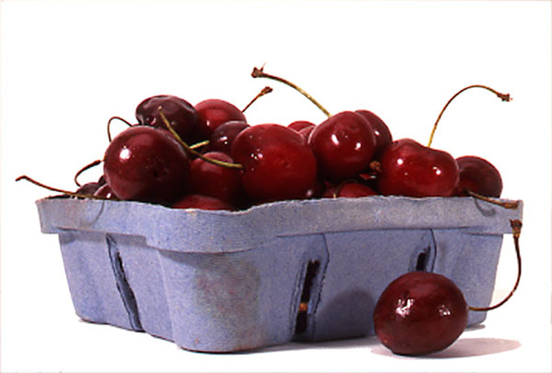 FOOD  cherries in blue box