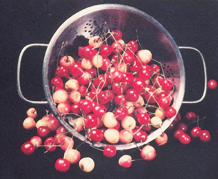 cherries in colander