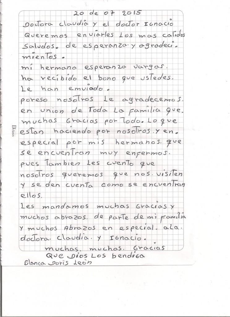 carta julio Doris Vargas hermana de Esperanza