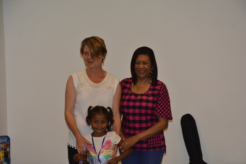 Dr. Vahri Beaumont with her sponsored kid