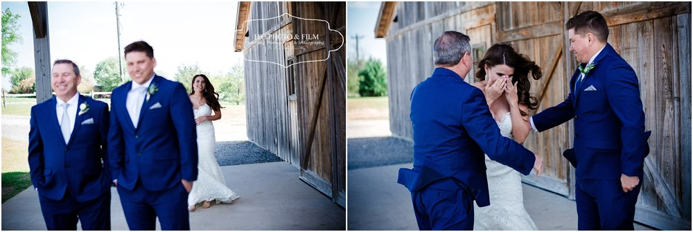 first look with dad and brother was so sweet!