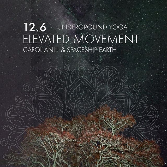 NEW CLASS🚨🧘♀️💓✨ Join Carol Ann and Spaceship Earth this December for our newest class, Elevated Movement! This restorative Vin Yin style class will begin with a 60 minute vinyasa practice and slowly transition into yin towards the end. The interdimensional sounds of Spaceship Earth will energize our movement while keeping us grounded during practice. Be sure to bring water, mat, towel, and comfy dancing pants!  Tickets: $15 Presale $20 Drop-in