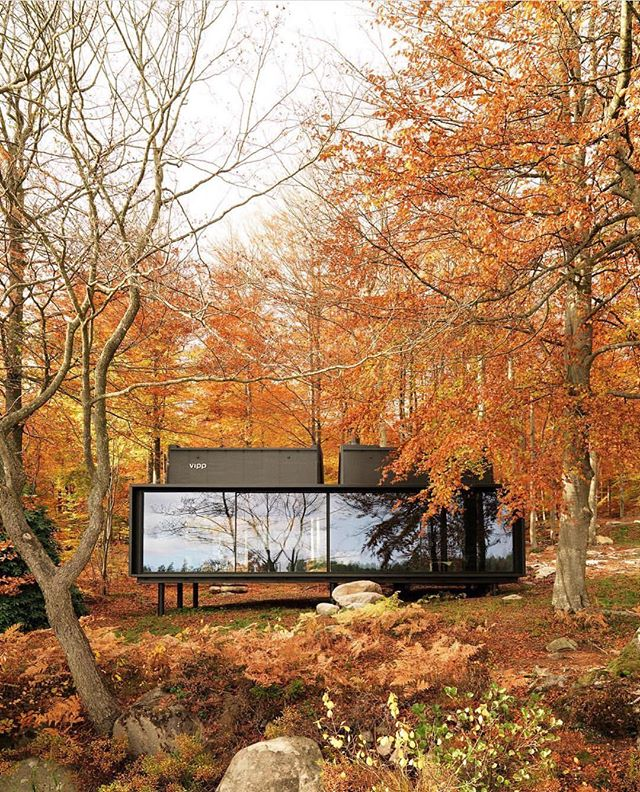 Them Autumn feels Plug-and-play prefab house by @vipp