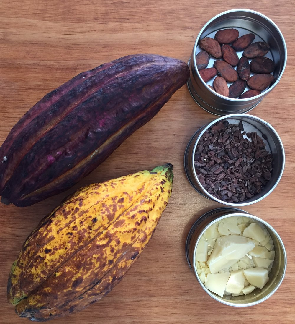 Cacao nibs, in the middle tin, add a toothsome crunch and chocolate flavour without sweetness, making them ideal for savoury dishes.
