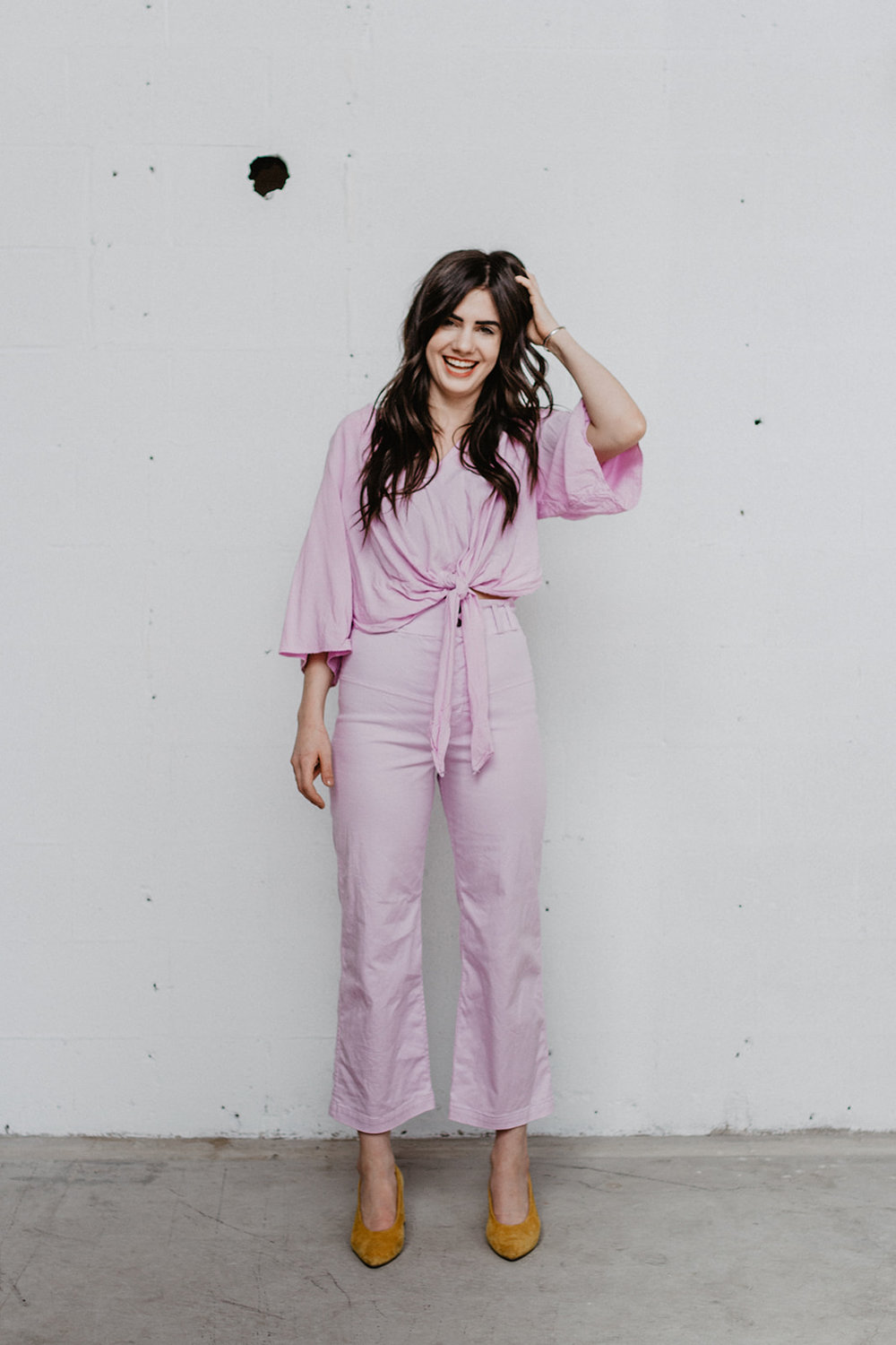 The Kathy Pant in Sweet Pea and The Tie Front-or-Back Shirt in Swee Pea