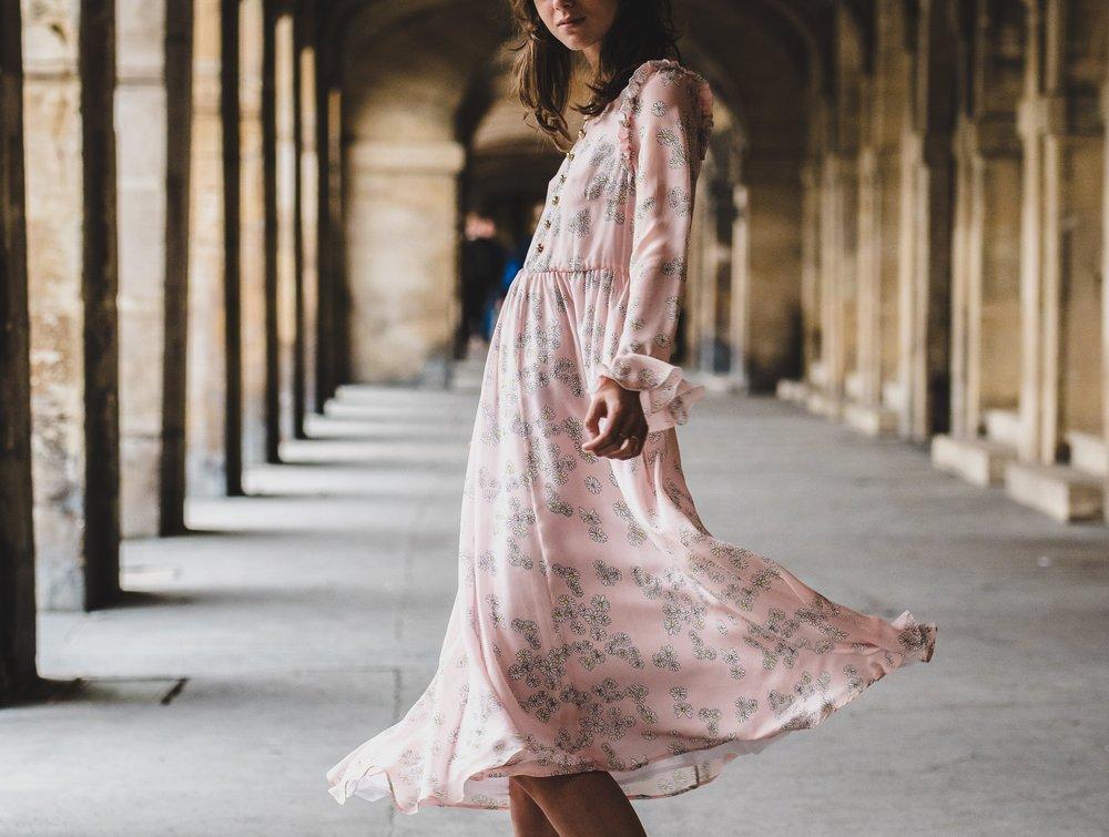pink flowing dress