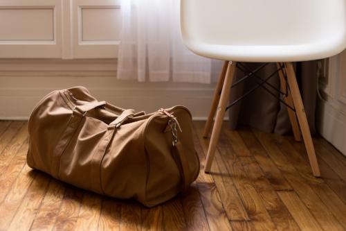 neutral cinnamon duffel bag