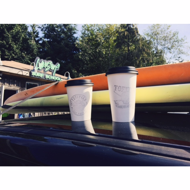tofino coffee stop with surf board
