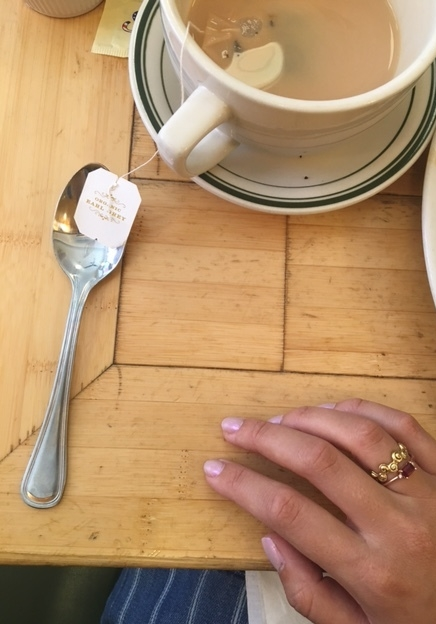 ruby ring with earl grey tea