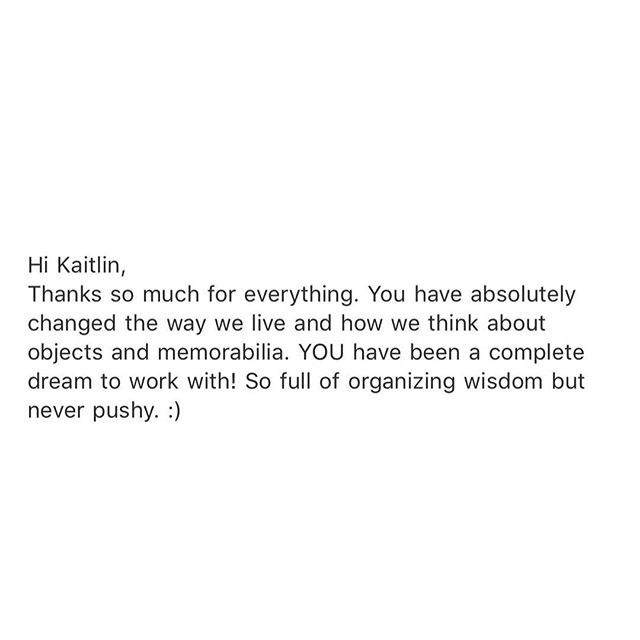 a message that #sparkedjoy from one of my favorite #clients. blessed to work with friends and families who dedicate our time to changing just a little bit of the way they live. 🙌🏻 live simply, happy. ✨ . #sparkjoy #konmari #konmariconsultant #mariekondo #netflix #organize #declutter #newyorkcity #nyc #brooklyn #homeorganization #declutter #style #happiness #fun #positivechoices