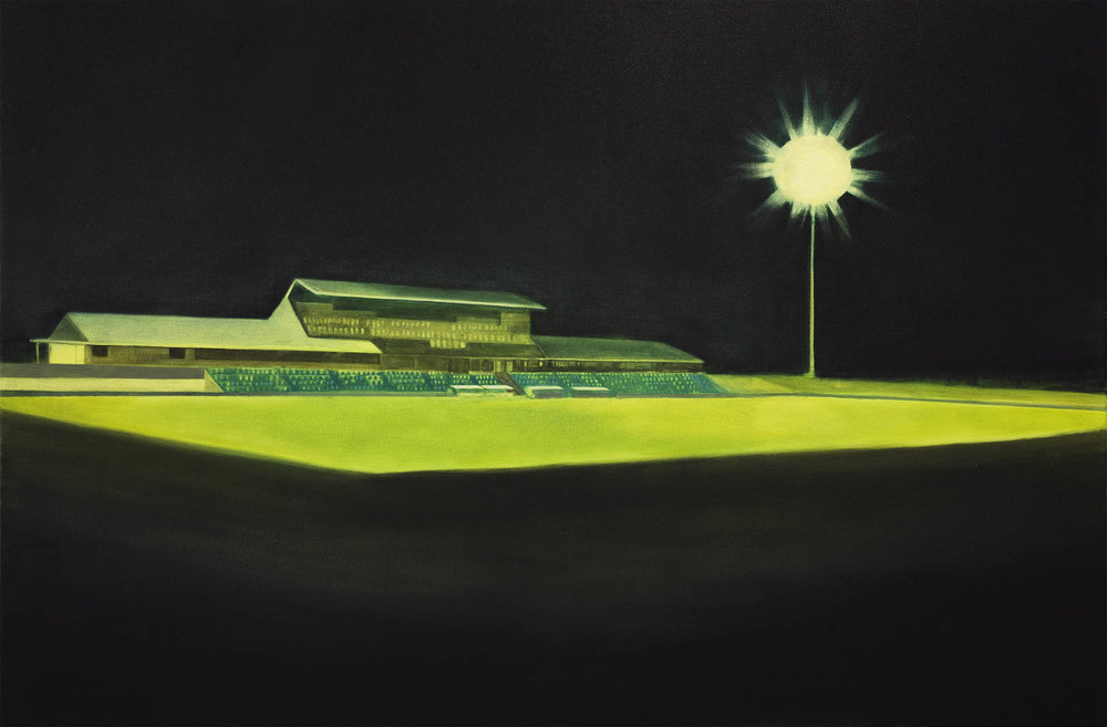 Empty Stands. 2018, oil on canvas, 100 x 150cm. Photograph courtesy of Graham Mathwin.  Exhibited as part of   Relay     at Midland Junction Arts Centre and   Contested Spaces 1     at John Curtin Gallery.