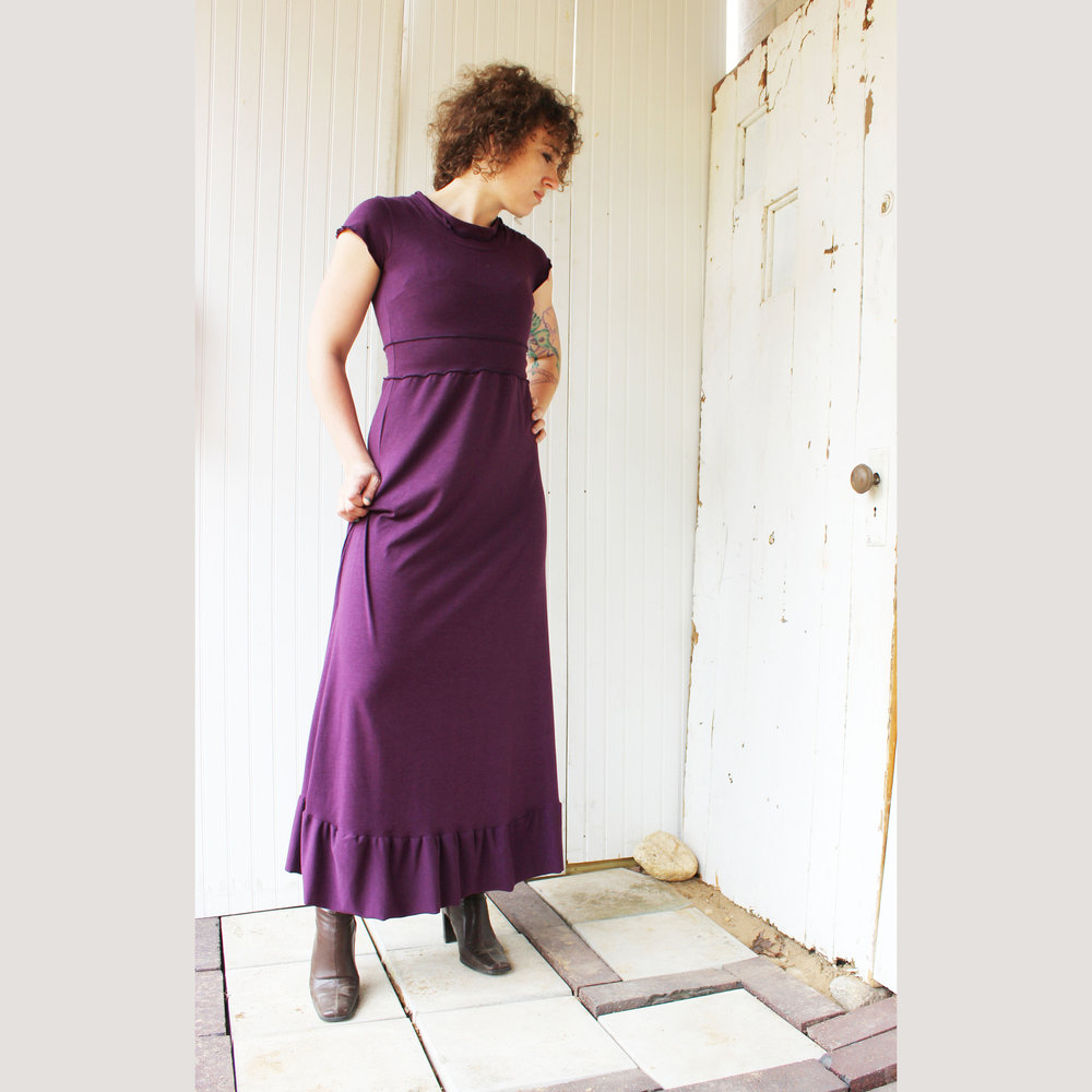 Cap Sleeve Maxi Dress in Grey
