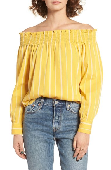 Stripe Off the Shoulder Shirt