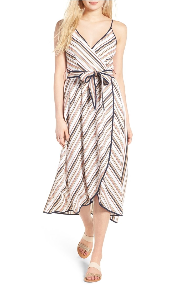 Moon River Striped Wrap Dress