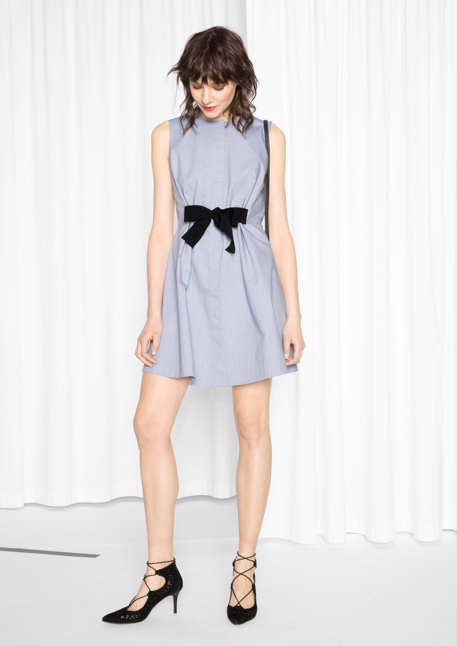 A-Line Cotton Tie Dress
