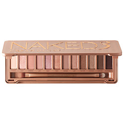 Naked Palette 3  - -The Naked Palette 3 is for the more natural/soft everyday look for your eyes. I love the glittery light pinks and towards the end of the palette are soft brownish/purples which look great on brunettes. Neutrals like beige and cream look great with these pretty pinks! I also own the first Naked Palette; it's full of browns and gold's for a natural smokey look.