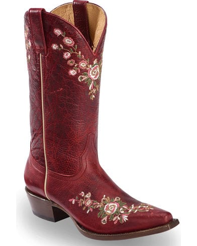 Red Floral Boots