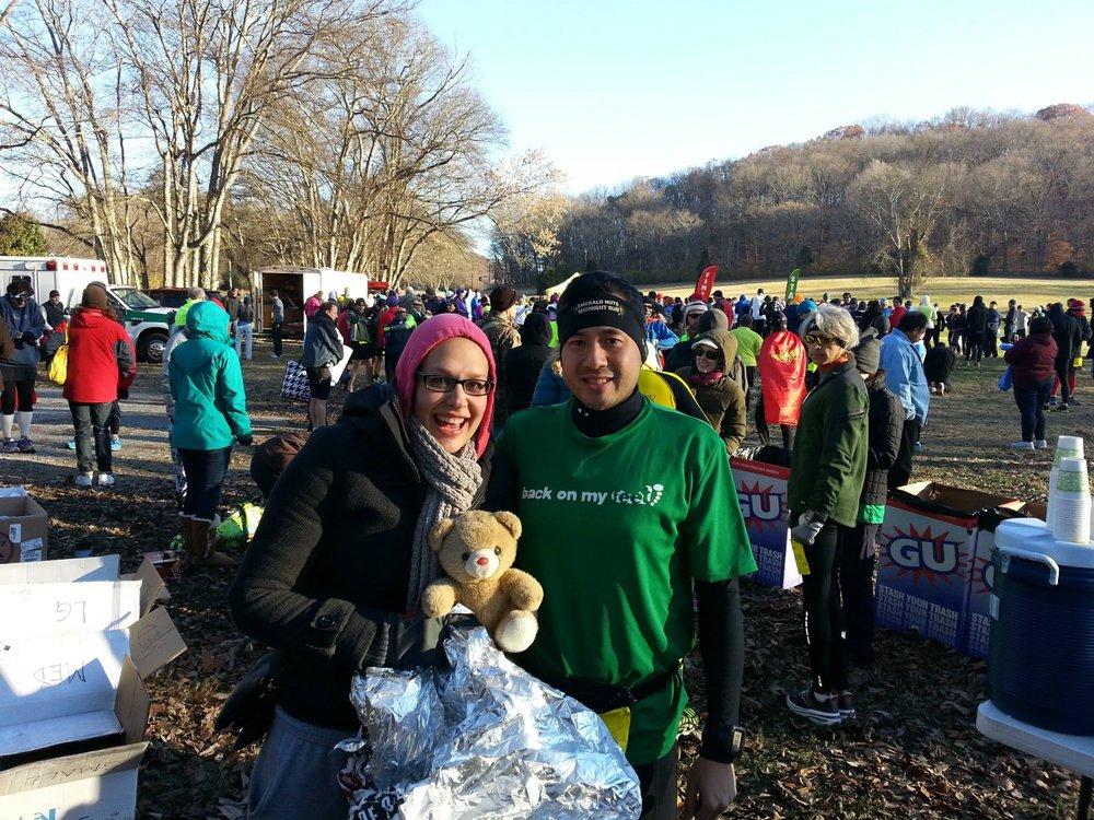 Me, Kino, and Bear the Bear at the Flying Monkey Marathon 2013 - Nashville. I volunteered and Kino ran the horribly hilly race.