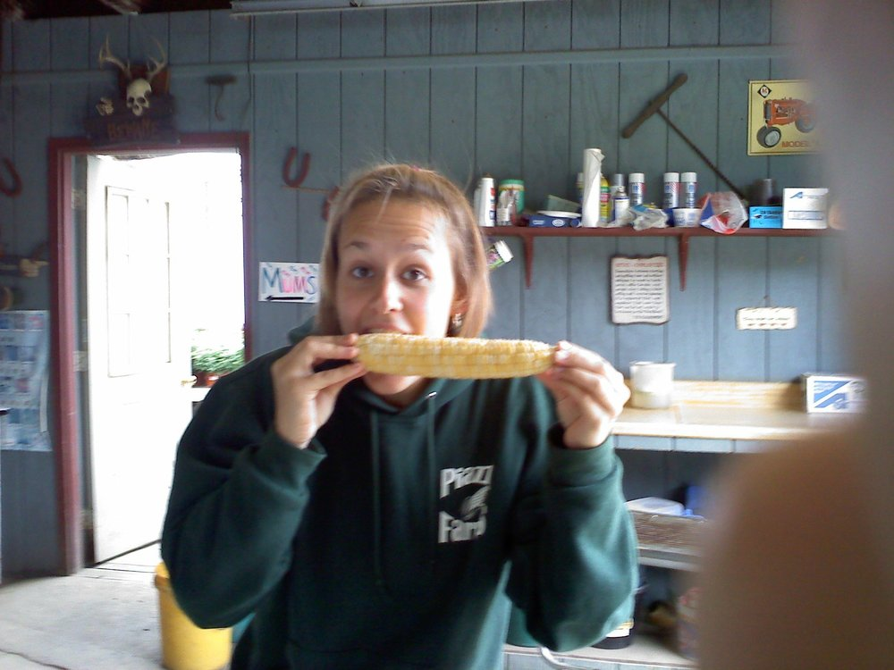 Eating *raw* sweet corn for lunch. The sweetest corn even before being cooked.