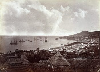 Funchal Bay in 1860. Merchant ships loaded up on Madeiras for the long journey to the Americas and Asia. Photo courtesy of www.madeira-web.com.