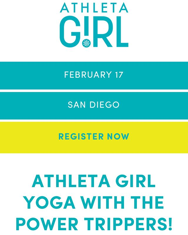 Hey San Diego Girls! ☀️Get EXCITED! The Powers Trippers own Co-Founder Anna and Athleta Girl are teaming up to bring San Diego girls a class full of fun and lot of laughs 😂 and it will be even better if YOU are there! Mom's, get your little Yoginis ages ( 6-16 )  fired up and register at the link in bio! ☝🏼We can't wait to see you!