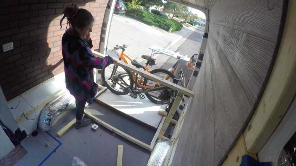 Checking the height the bed needs to be now that we have a functioning bike drawer.