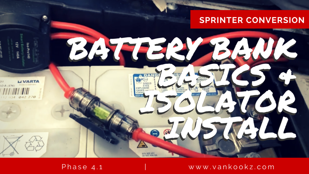 DIY Electrical for Dummies - Phase 4.1 - Battery Bank Basics & Isolator Install. Here we talk about basic parallel wiring for your aux 12v battery system. Charge your aux battery system with your van alternator with an isolator!